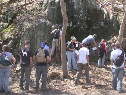 Students working in the field